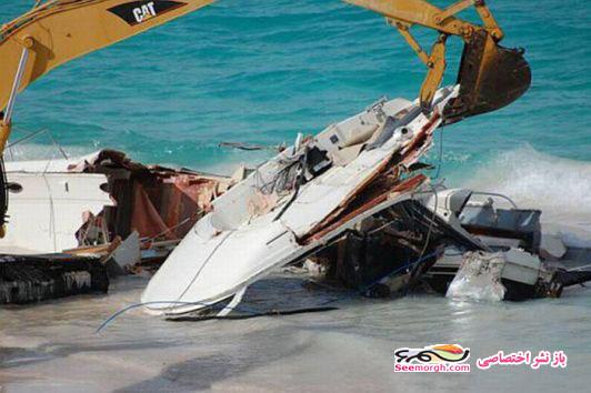 تصاویر تخریب کشتی چند میلیون دلاری در ساحل! www.TAFRIHI.com