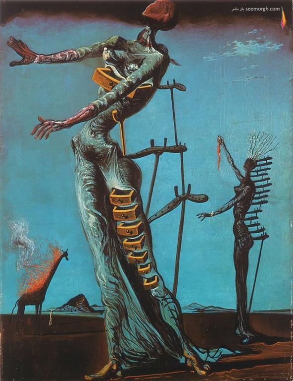 تابلو نقاشی زرافه ای در حال سوختن اثر سالوادور دالی