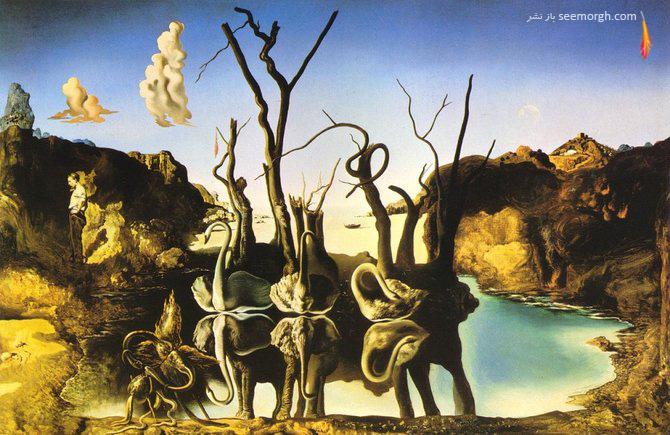 نقاشی فیل ها بازتاب قوها اثر سالوادور دالی