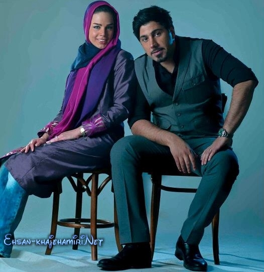 عکس احسان خواجه امیری و همسرش