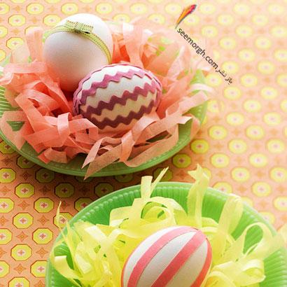 تزئین تخم مرغ  به شکل آشیانه
