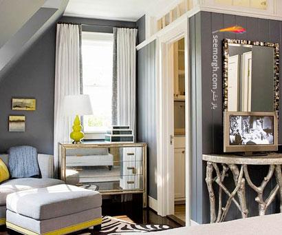 طرح رنگی گرم و نرم: خاکستری سنگی+ رنگ یشمی,چیدمانی زیبا با رنگ خاکستری,دکوراسیون داخلی با رنگ خاکستری,