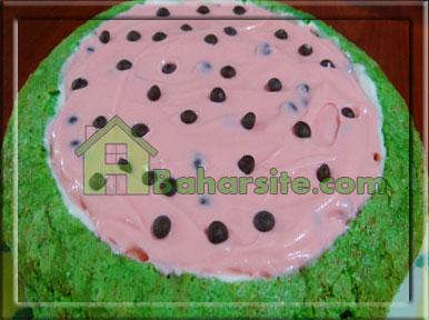 مرحله هفدهم درست کردن چیز کیک هندوانه برای شب یلدا