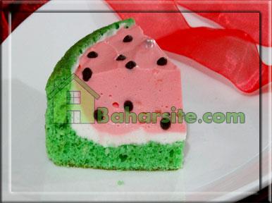 مرحله نوزدهم درست کردن چیز کیک هندوانه برای شب یلدا