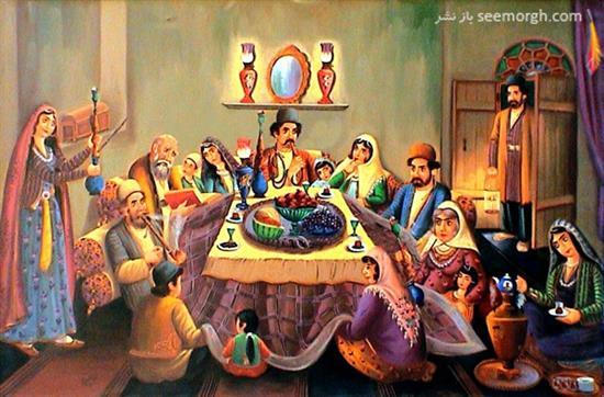 نتیجه تصویری برای نقاشی دورهمی یلدا