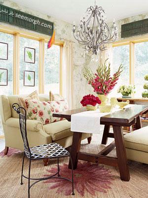 اتاق آفتابگیر سر سبز رو به باغ,چگونه با کمترین هزینه دکوری بهاری مهیا کنیم؟