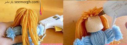 مرحله پنجم درست کردن عروسک بافتنی بدون بافتن,آموزش تصویری درست کردن عروسک بافتنی بدون بافتن