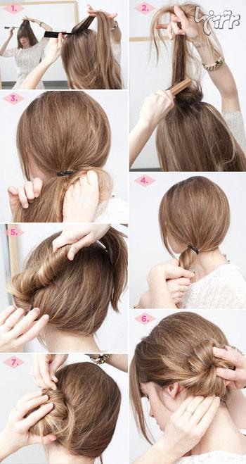 مدل مو,مدل مو آسان,مدل مو 5 دقیقه ای,خودآرایی مو,شینیون یکطرفه یک مدل مو 5 دقیقه ای زیبا