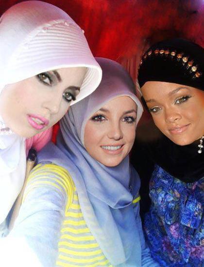 عکس   چهره ریحانا, بریتنی اسپیرز و لیدی گاگا با حجاب