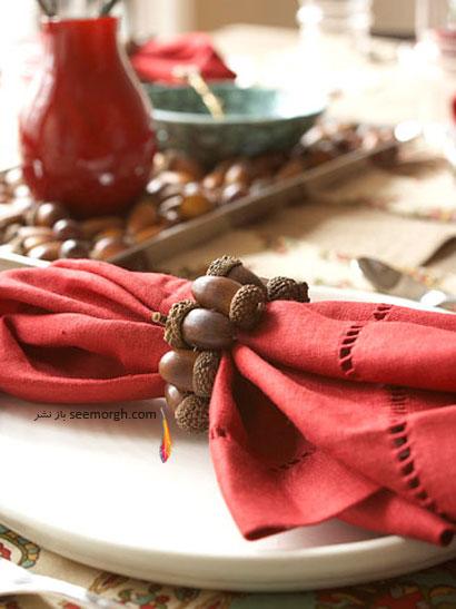 دکوراسیون اتاق غذاخوری با میوه بلوط و برگهای پاییزی ! www.TAFRIHI.com