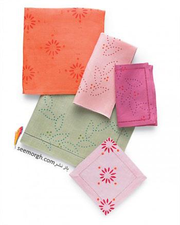 دستمال سفره های شاد و روشن  با استفاده از چاپ باتیك