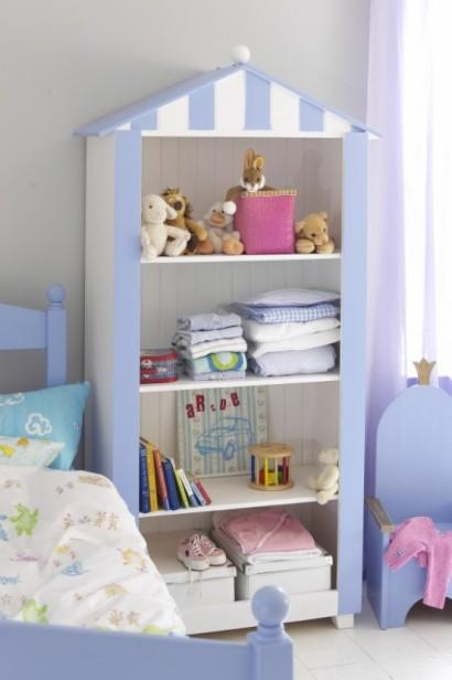 کمد کودک با طرح خانه آبی و سفید,کمدهای زیبا و کودکانه,مدلهای جدید میز تحریر و کمد برای کودکان!