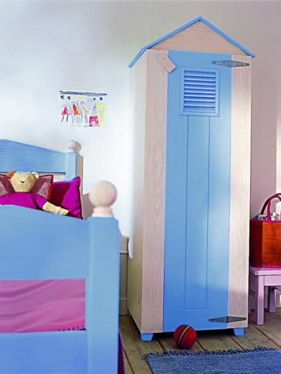 کمد کودک با طرح کلبه با رنگ کرم و آبی,کمدهای زیبا و کودکانه,مدلهای جدید میز تحریر و کمد برای کودکان!