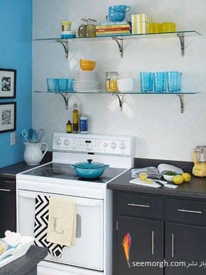 استفاده ی بهینه از فضای داخلی آشپزخانه,بازسازی دکوراسیون یک آشپزخانه کوچک با ایده هایی جذاب و نو!!