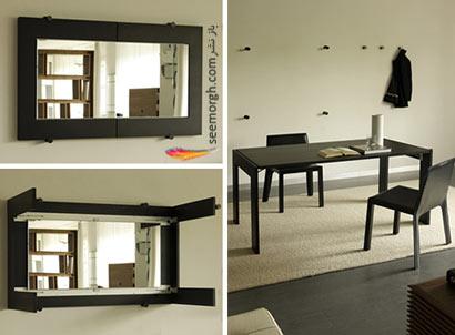 جا زدن یک میز غذاخوری بجای آیینه، روی دیوار !! www.TAFRIHI.com