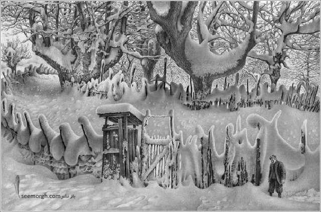 نقاشی منظره برفی