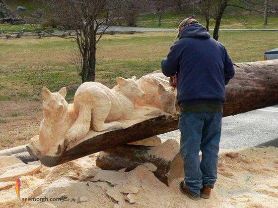 کنده کاری با اره برقی روی چوب