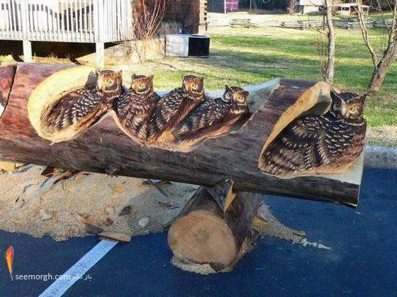 ساخت مجسمه های چوبی بر روی درختان
