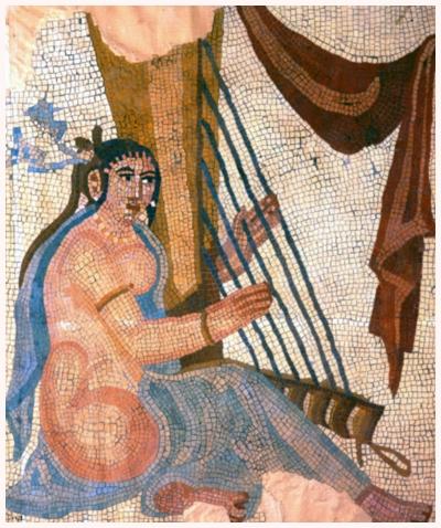 چنگ دوران ساسانی در کاوش های باستان شناسی در بیشاپور-مکان کنونی: موزه لوور