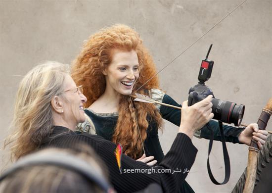جسیکا چاستین در نقش دختر مو قرمز انیمیشن «شجاع» والت دیزنی.