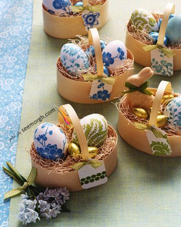 تزیین تخم مرغ,تخم مرغ هفت سین,تزیین تخم مرغ هفت سین,تزیین تخم مرغ سفره هفت سین,تزیین تخم مرغ سفره هفت سین با دستمال طرح دار