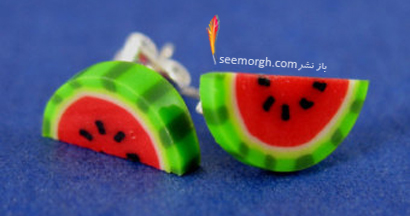 گوشواره به شکل هندوانه نصفه برای شب یلدا