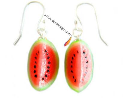 گوشواره آویزی به شکل هندوانه برای شب یلدا