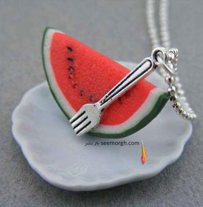 آویز گردنبند به شکل برش هندوانه برای شب یلدا