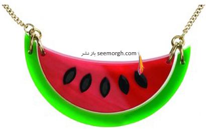 گردنبند آویزی به شکل برش هندوانه برای شب یلدا