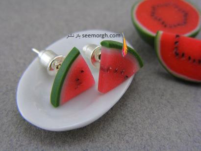گوشواره میخی به شکل برش هندوانه برای شب یلدا