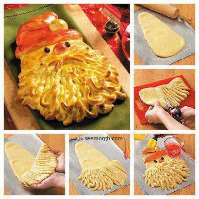 تزیین نان به شکل بابانوئل