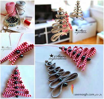 آموزش درست کردن درخت کریسمس پارچه ای با مهره و روبان,درخت کریسمس پارچه ای
