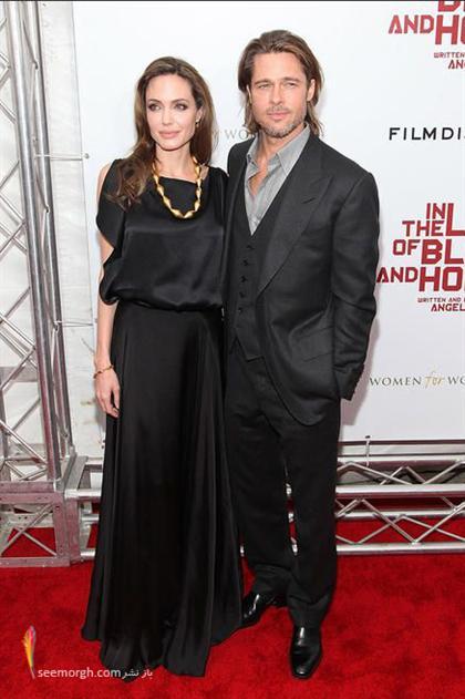 عکس آنجلینا جولی و برد پیت روی فرش قرمز افتتاحیه فیلم «در سرزمین خون و عسل» www.tafrihi.com